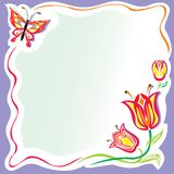 цветки обрамляют стилизованное Иллюстрация вектора