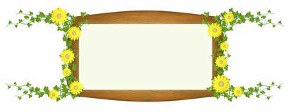 цветки обшивают панелями окруженный желтый цвет лозы деревянный Стоковые Изображения RF