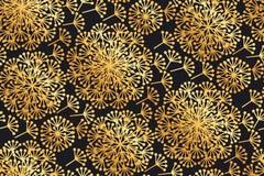 Цветки одуванчика роскошного золота геометрические на черноте Стоковые Изображения