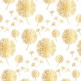 Цветки одуванчика элегантного золота геометрические на белизне Стоковое Изображение RF