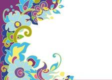 Цветки орнаментируют на темной предпосылке яркой Стоковое Изображение