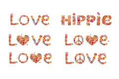 Цветки печатают с символом цветка мира, влюбленностью и словом hippie иллюстрация вектора