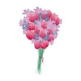 Цветки пинка сирени лилии букета вектора белизна иллюстрации фингерпринта предпосылки Стоковое фото RF