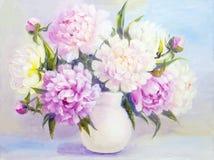Цветки пиона в белой вазе Стоковое Изображение