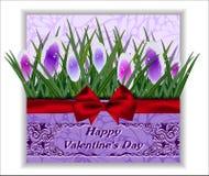 Цветки поздравительной открытки связанный вектор Валентайн иллюстрации s 2 сердец дня Стоковое фото RF