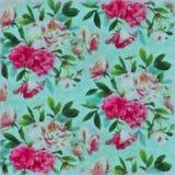 Цветки покрашенные на ткани с watercolours Стоковая Фотография