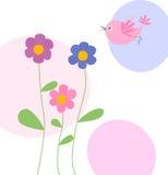 цветки птицы милые иллюстрация вектора