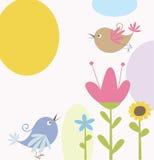 цветки птицы милые иллюстрация штока