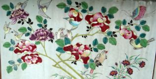 Цветки, птицы орнаментируют красный & зеленый, японский стиль Стоковое Изображение RF