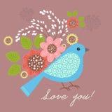 цветки птиц установили вектор стикеров Стоковые Фотографии RF