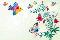 цветки птиц иллюстрация штока