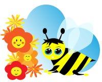 цветки пчелы милые Стоковое фото RF
