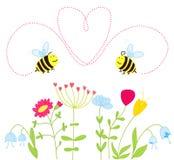 цветки пчел любят сверх иллюстрация вектора