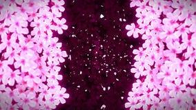 Цветки Сакуры Японские вишневые цвета полностью зацветают Красивый ландшафт дерева Сакуры Анимация петли CG сток-видео