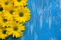Цветки сада над покрашенной предпосылкой деревянного стола фон с космосом экземпляра Красивые цветки на деревянной предпосылке стоковое изображение