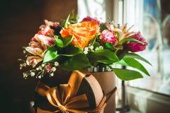 Цветки свадьбы в коробке Стоковые Фото
