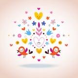 Цветки, сердца & иллюстрация птиц Стоковое Фото