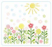 Цветки, солнце, дети, плоские, покрашенные иллюстрации Бесплатная Иллюстрация