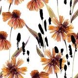 Цветки стоцвета акварели, предпосылка листьев бесплатная иллюстрация