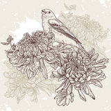 Цветки с иллюстрацией птицы Стоковая Фотография
