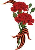 Цветки с коммеморативной лентой Стоковое фото RF