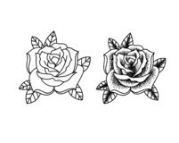 Цветки татуировки установили работу точки бесплатная иллюстрация
