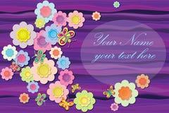 Цветки ткани на абстрактной пурпуровой предпосылке Стоковая Фотография RF