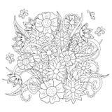 Цветки, трава и бабочка Doodle Стоковые Изображения