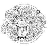 Цветки, трава и мандалы Doodle Стоковое Изображение RF