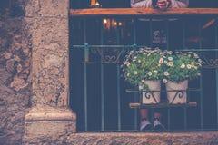Цветки улицы в Сиракузе, Сицилии Стоковые Изображения RF