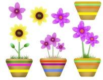 Цветки, фантазия, красочное в горшке Иллюстрация вектора