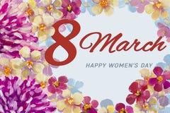 Цветки хризантем весны розовые и оранжевое голубое и красное флористическое цветение для поздравительной открытки картины маслом  Стоковое Изображение
