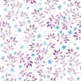 Цветки Ditsy, листья флористическая картина безшовная Акварель нарисованная рукой бесплатная иллюстрация
