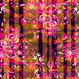 Цветки Ditsy с проверками и нашивками картина безшовная иллюстрация вектора