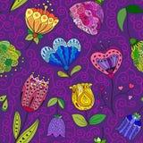 Цветки doodle безшовная картина также вектор иллюстрации притяжки corel Стоковые Фотографии RF