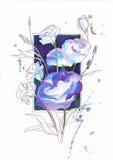 Цветки Eustoma на рамке предпосылки Стоковые Изображения RF