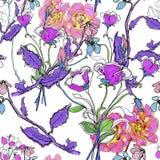 Цветки Watercolour Безшовная предпосылка Стоковые Изображения
