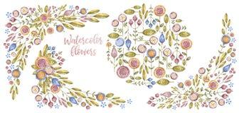 Цветки Watercolour и границы, дизайн крышки карты иллюстрация вектора