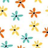 Цветки withblue картины лета безшовные, желтых и оранжевых Флористическое печатание мультфильма иллюстрация штока