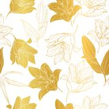 Цветков лилии вектора картина повторения живых золотых безшовная иллюстрация вектора