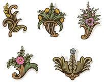 цветков woodcut слишком Стоковое Изображение