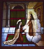 Цветное стекло Авила Кастили Испания St Teresa Анджела Стоковая Фотография