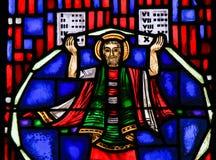 Цветное стекло в червях - Моисее и 10 заповедях Стоковое Изображение RF