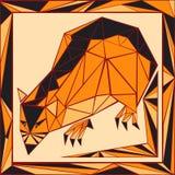 Цветное стекло китайского гороскопа стилизованное - крыса Стоковая Фотография RF