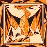 Цветное стекло китайского гороскопа стилизованное - дракон Стоковое Изображение RF
