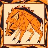 Цветное стекло китайского гороскопа стилизованное - свинья Стоковое фото RF