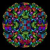 Цветное стекло мандалы иллюстрация штока