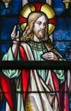 Цветное стекло - проповедь на держателе стоковые фотографии rf