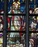 Цветное стекло - проповедь на держателе стоковая фотография rf