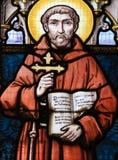 Цветное стекло - Св. Франциск Св. Франциск Assisi стоковая фотография